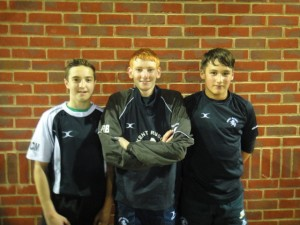 Owen Church-Mills,Ross Bryan and Jo Whitby pictured at their first Kent County training session held at Aylesford RFC on Monday. Owen Church-Mills is also been training with Saracens Elite squad.